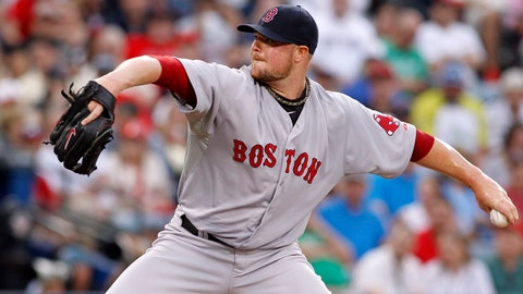 May 27, 2014; Atlanta, GA, USA; Boston Red Sox starting pitcher Jon Lester (31) throws a pitch against the Atlanta Braves in the second inning at Turner Field. Mandatory Credit: Brett Davis-USA TODAY Sports