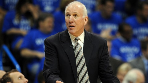 May 25, 2014; Oklahoma City, OK, USA; San Antonio Spurs head coach Gregg Popovich reacts to a call in action against the Oklahoma City Thunder during the second quarter in game three of the Western Conference Finals of the 2014 NBA Playoffs at Chesapeake Energy Arena. Mandatory Credit: Mark D. Smith-USA TODAY Sports