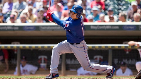 May 29, 2014; Minneapolis, MN, USA; Texas Rangers designated hitter Shin-Soo Choo (17) hits a three run double in the second inning against the Minnesota Twins at Target Field. Mandatory Credit: Jesse Johnson-USA TODAY Sports