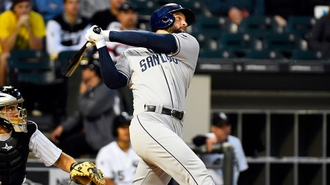 May 30, 2014; Chicago, IL, USA; San Diego Padres first baseman Yonder Alonso (23) gets a single against the Chicago White Sox during the fifth inning at U.S Cellular Field. Mandatory Credit: Mike DiNovo-USA TODAY Sports