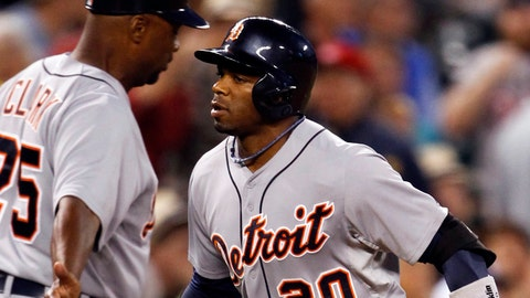 May 30, 2014; Seattle, WA, USA; Detroit Tigers left fielder Rajai Davis (20) rounds the bases after hitting a solo home run against the Seattle Mariners during the seventh inning at Safeco Field. Mandatory Credit: Joe Nicholson-USA TODAY Sports
