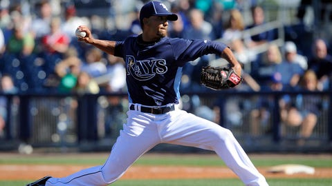Mar 5, 2012; Port Charlotte, FL, USA; Tampa Bay Rays relief pitcher Matt Bush (59) pitches during the ninth inning against the Baltimore Orioles at Charlotte Sports Park. The Orioles defeated the Rays 3-1. Mandatory Credit: Jerome Miron-USA TODAY Sports