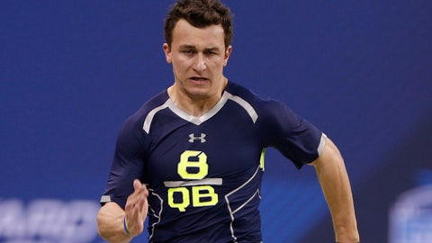 Feb 23, 2014; Indianapolis, IN, USA; Texas A&M quarterback Johnny Manziel runs the 40 yard dash during the 2014 NFL Combine at Lucas Oil Stadium. Mandatory Credit: Brian Spurlock-USA TODAY Sports