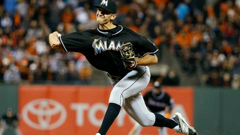 May 16, 2014; San Francisco, CA, USA; Miami Marlins relief pitcher Steve Cishek (31) pitches during the ninth inning against the San Francisco Giants at AT&T Park. Marlins won 7-5. Mandatory Credit: Bob Stanton-USA TODAY Sports