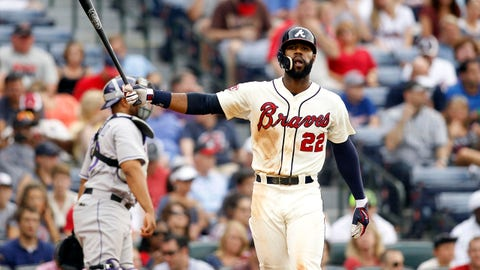 May 24, 2014; Atlanta, GA, USA; Atlanta Braves right fielder Jason Heyward (22) reacts after a strike out against the Colorado Rockies in the eighth inning at Turner Field. Mandatory Credit: Brett Davis-USA TODAY Sports