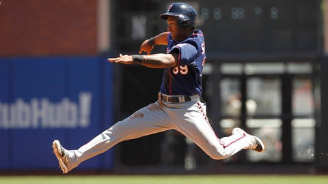 May 25, 2014; San Francisco, CA, USA; Minnesota Twins infielder Danny Santana (39) advances to second base on a balk by San Francisco Giants pitcher Madison Bumgarner (not pictured) in the fifth inning at AT&T Park. Mandatory Credit: Cary Edmondson-USA TODAY Sports