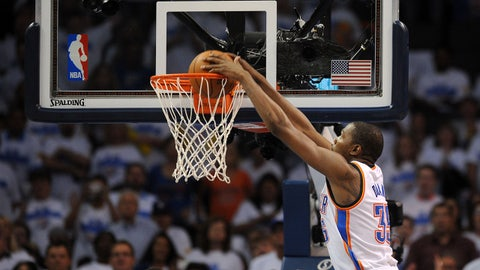 May 27, 2014; Oklahoma City, OK, USA; Oklahoma City Thunder forward Kevin Durant (35) dunks the ball against the San Antonio Spurs during the third quarter in game four of the Western Conference Finals of the 2014 NBA Playoffs at Chesapeake Energy Arena. Mandatory Credit: Mark D. Smith-USA TODAY Sports