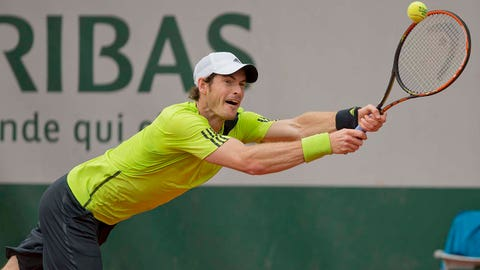 May 29, 2014; Paris, Paris, France; Andy Murray (GBR) in action during his match against Marinko Matosevic (AUS) on day five at the 2014 French Open at Roland Garros. Mandatory Credit: Susan Mullane-USA TODAY Sports