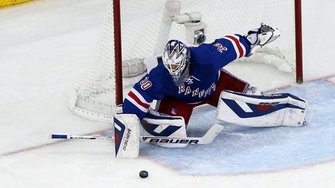 May 29, 2014; New York, NY, USA; New York Rangers goalie Henrik Lundqvist (30) makes a save during the second period against the Montreal Canadiens in game six of the Eastern Conference Final of the 2014 Stanley Cup Playoffs at Madison Square Garden. Mandatory Credit: Adam Hunger-USA TODAY Sports