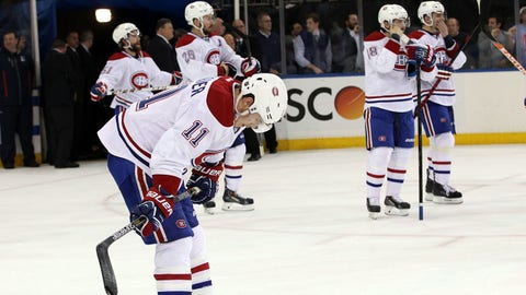 May 29, 2014; New York, NY, USA; Montreal Canadiens right wing Brendan Gallagher (11) reacts after loosing to the New York Rangers 1-0 in game six of the Eastern Conference Final of the 2014 Stanley Cup Playoffs at Madison Square Garden. Mandatory Credit: Adam Hunger-USA TODAY Sports