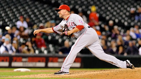 May 29, 2014; Seattle, WA, USA; Los Angeles Angels relief pitcher Joe Smith (38) pitches to the Seattle Mariners during the eighth inning at Safeco Field. Los Angeles defeated Seattle 7-5. Mandatory Credit: Steven Bisig-USA TODAY Sports