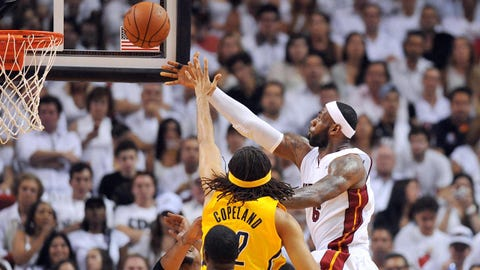 May 30, 2014; Miami, FL, USA; Miami Heat forward LeBron James (6) shoots against the Indiana Pacers  during the second half in game six of the Eastern Conference Finals of the 2014 NBA Playoffs at American Airlines Arena. Mandatory Credit: Steve Mitchell-USA TODAY Sports