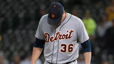 May 28, 2014; Oakland, CA, USA; Detroit Tigers relief pitcher Joe Nathan (36) looks on during the ninth inning of the game against the Oakland Athletics at O.co Coliseum. The Oakland Athletics defeated the Detroit Tigers 3-1. Mandatory Credit: Ed Szczepanski-USA TODAY Sports