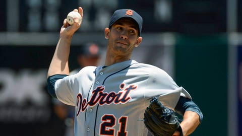 May 29, 2014; Oakland, CA, USA; Detroit Tigers starting pitcher Rick Porcello (21) delivers a pitch against the Detroit Tigers during the first inning at O.co Coliseum. Mandatory Credit: Kyle Terada-USA TODAY Sports