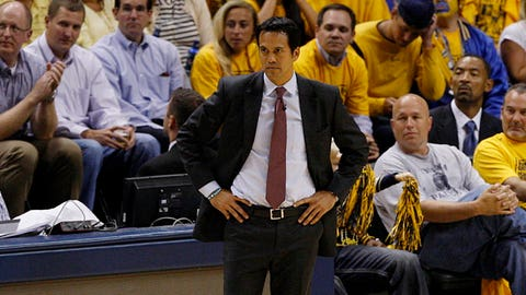 May 28, 2014; Indianapolis, IN, USA; Miami Heat head coach Erik Spoelstra reacts courtside during the fourth quarter against the Indiana Pacers in game five of the Eastern Conference Finals of the 2014 NBA Playoffs at Bankers Life Fieldhouse. Mandatory Credit: Aaron Doster-USA TODAY Sports