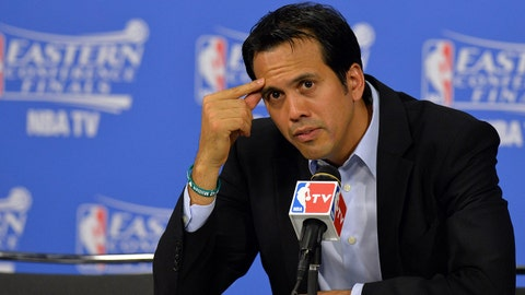 May 24, 2014; Miami, FL, USA;  Miami Heat head coach Erik Spoelstra talks with the media following the Heat 99-87 victory over the Indiana Pacers in game three of the Eastern Conference Finals of the 2014 NBA Playoffs at American Airlines Arena. Mandatory Credit: Steve Mitchell-USA TODAY Sports