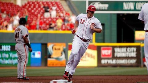 Jun 3, 2014; Cincinnati, OH, USA; Cincinnati Reds right fielder Jay Bruce (32) rounds third base during the first inning against the San Francisco Giants at Great American Ball Park. Mandatory Credit: Frank Victores-USA TODAY Sports