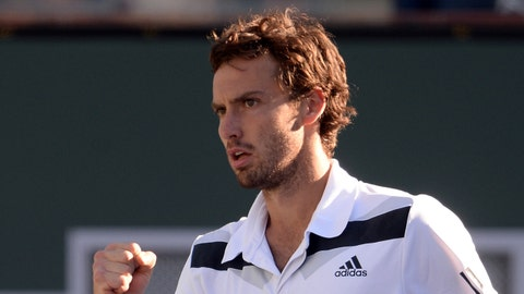 Mar 14, 2014; Indian Wells, CA, USA; Ernests Gulbis (LAT) during his match against John Isner (not pictured) at the BNP Paribas Open at Indian Wells Tennis Garden. Isner won 7-6, 7-6.  Mandatory Credit: Jayne Kamin-Oncea-USA TODAY Sports