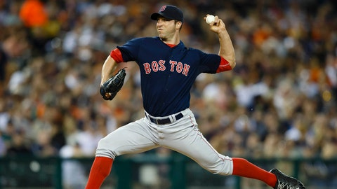 Jun 6, 2014; Detroit, MI, USA; Boston Red Sox relief pitcher Chris Capuano (55) pitches in the eighth inning against the Detroit Tigers at Comerica Park. Mandatory Credit: Rick Osentoski-USA TODAY Sports