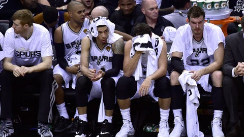 Jun 5, 2014; San Antonio, TX, USA; San Antonio Spurs bench reacts during the game in the second half against the Miami Heat in game one of the 2014 NBA Finals at AT&T Center. Mandatory Credit: Bob Donnan-USA TODAY Sports