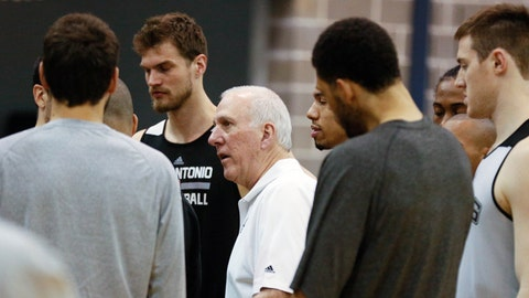 Jun 6, 2014; San Antonio, TX, USA; San Antonio Spurs head coach Gregg Popovich talks to his players during basketball practice at Spurs Practice Facility. Mandatory Credit: Soobum Im-USA TODAY Sports