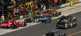 CUP:  Jimmie Johnson Runs Into Ambrose Leaving Pits – Pocono 2014