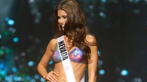 Miss Nevada USA Nia Sanchez participates in the swimsuit competition during the 2014 Miss USA preliminary competition in Baton  Rouge, La., Wednesday, June 4, 2014. (AP Photo/Gerald Herbert)