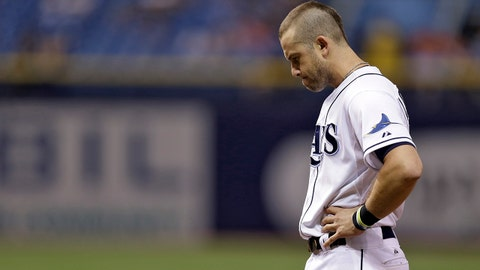 Tampa Bay Rays' Evan Longoria reacts after grounding out against the Miami Marlins during the eighth inning of an interleague baseball game Thursday, June 5, 2014, in St. Petersburg, Fla. The Rays lost to the Marlins 11-6 for their 10th loss in-a-row. (AP Photo/Chris O'Meara)