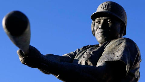 June 6, 2011; San Diego, CA, USA; The San Diego Padres statue of Tony Gwynn at PETCO Park. Mandatory Credit: Jake Roth-USA TODAY Sports
