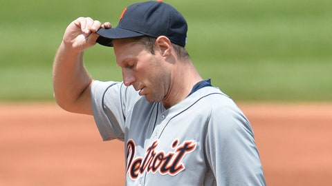 May 21, 2014; Cleveland, OH, USA; Detroit Tigers starting pitcher Max Scherzer (37) reacts in the second inning against the Cleveland Indians at Progressive Field. Mandatory Credit: David Richard-USA TODAY Sports