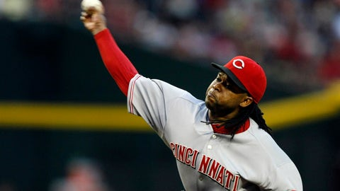 May 31, 2014; Phoenix, AZ, USA; Cincinnati Reds starting pitcher Johnny Cueto (47) throws in the first inning during a baseball game against the Arizona Diamondbacks at Chase Field. Mandatory Credit: Rick Scuteri-USA TODAY Sports