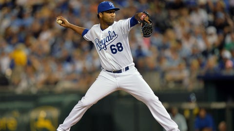 Jun 6, 2014; Kansas City, MO, USA; Kansas City Royals pitcher Wilking Rodriguez (68) delivers a pitch against the New York Yankees during the eighth inning at Kauffman Stadium. The Yankees defeated the Royals 4-2. Mandatory Credit: Peter G. Aiken-USA TODAY Sports