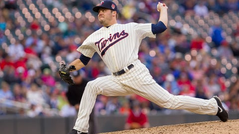 Jun 7, 2014; Minneapolis, MN, USA; Minnesota Twins relief pitcher Caleb Thielbar (56) pitches in the ninth inning against the Houston Astros at Target Field. The Minnesota Twins win 8-0. Mandatory Credit: Brad Rempel-USA TODAY Sports
