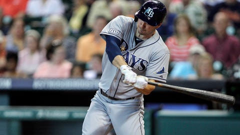 Jun 13, 2014; Houston, TX, USA; Tampa Bay Rays left fielder Matt Joyce (20) drives in two runs with a double during the second inning against the Houston Astros at Minute Maid Park. Mandatory Credit: Troy Taormina-USA TODAY Sports