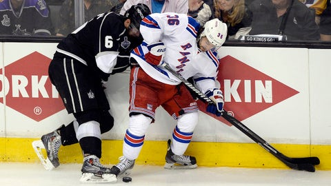 Jun 13, 2014; Los Angeles, CA, USA; New York Rangers right wing Mats Zuccarello (36) battles for the puck with Los Angeles Kings defenseman Jake Muzzin (6) during the overtime period in game five of the 2014 Stanley Cup Final at Staples Center. Mandatory Credit: Richard Mackson-USA TODAY Sports
