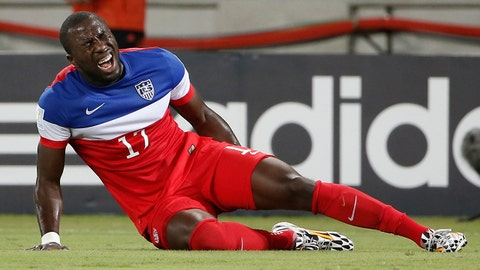 Jun 16, 2014; Natal, Rio Grande do Norte, BRAZIL; United States forward Jozy Altidore (17) grabs his leg in pain while falling to the ground during the first half of their 2014 World Cup game against Ghana at Estadio das Dunas. Mandatory Credit: Winslow Townson-USA TODAY Sports