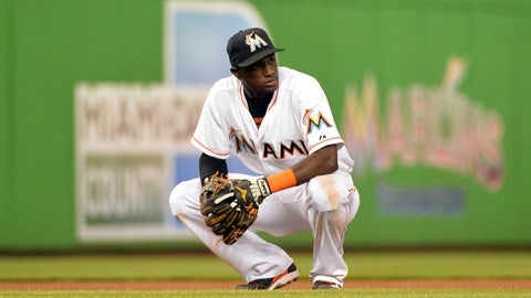 Jun 19, 2014; Miami, FL, USA; Miami Marlins shortstop Adeiny Hechavarria (3) takes a breather during the seventh inning against the New York Mets at Marlins Ballpark. Mandatory Credit: Steve Mitchell-USA TODAY Sports