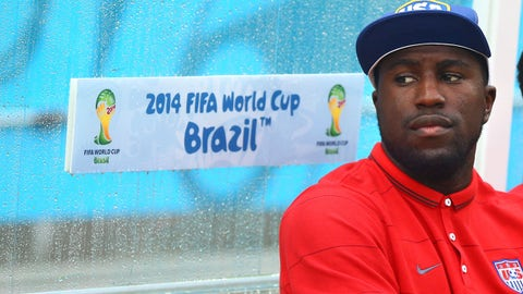 Jun 26, 2014; Recife, BRAZIL; USA injured forward Jozy Altidore on the bench prior to the game against Germany during the 2014 World Cup at Arena Pernambuco. Germany defeated USA 1-0. Mandatory Credit: Mark J. Rebilas-USA TODAY Sports