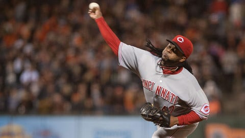 Jun 27, 2014; San Francisco, CA, USA; Cincinnati Reds starting pitcher Johnny Cueto (47) throws a pitch against the San Francisco Giants during the ninth inning at AT&T Park. The Cincinnati Reds defeated the San Francisco Giants 6-2. Mandatory Credit: Ed Szczepanski-USA TODAY Sports
