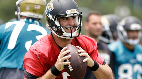 Jacksonville Jaguars quarterback Blake Bortles (5) looks for a receiver during a team scrimmage at NFL football minicamp in Jacksonville, Fla., Wednesday, June 18, 2014. (AP Photo/John Raoux)