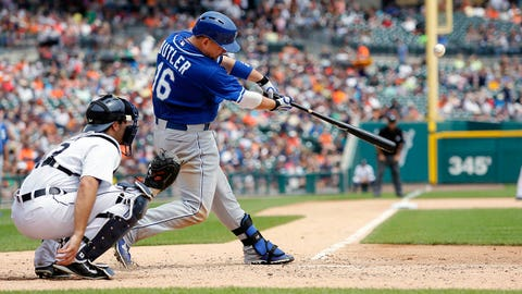DETROIT, MI - JUNE 18:  Billy Butler #16 of the Kansas City Royals hits a fly ball to right field for an out against the Detroit Tigers during the sixth inning at Comerica Park on June 18, 2014 in Detroit, Michigan. (Photo by Duane Burleson/Getty Images)
