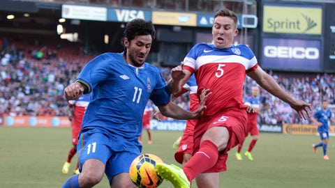 May 27, 2014; San Francisco, CA, USA; United States defender Matt Besler (5) kicks the ball against Azerbaijan forward Rauf Aliyev (11) during the first half at Candlestick Park. Mandatory Credit: Kelley L Cox-USA TODAY Sports  / ReutersPicture Supplied by Action Images