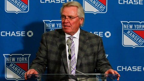 Feb. 27, 2012; New York, NY, USA; New York Rangers President and General Manager Glen Sather at a press conference before the game against the New Jersey Devils at Madison Square Garden.  Mandatory Credit: Debby Wong-USA TODAY Sports
