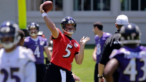 Baltimore Ravens quarterback Joe Flacco (5) throws to a teammate during an NFL football practice, Wednesday, June 4, 2014, at the team's practice facility in Owings Mills, Md. (AP Photo/Patrick Semansky)