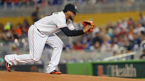 MIAMI, FL - JUNE 03:  Henderson Alvarez #37 of the Miami Marlins pitches during a game against the Tampa Bay Rays at Marlins Park on June 3, 2014 in Miami, Florida.  (Photo by Mike Ehrmann/Getty Images)