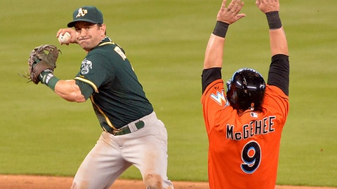 Jun 29, 2014; Miami, FL, USA; Oakland Athletics shortstop Nick Punto (1) forces out Miami Marlins third baseman Casey McGehee (9) at second base during the ninth inning at Marlins Ballpark. Mandatory Credit: Steve Mitchell-USA TODAY Sports