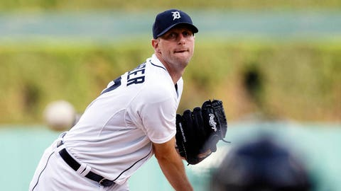 Jun 17, 2014; Detroit, MI, USA; Detroit Tigers starting pitcher Max Scherzer (37) warms up before the second inning against the Kansas City Royals at Comerica Park. Mandatory Credit: Rick Osentoski-USA TODAY Sports