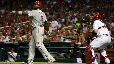 Jun 19, 2014; St. Louis, MO, USA; Philadelphia Phillies first baseman Ryan Howard (6) hits a two run home run off of St. Louis Cardinals starting pitcher Shelby Miller (not pictured) during the sixth inning at Busch Stadium. Mandatory Credit: Jeff Curry-USA TODAY Sports