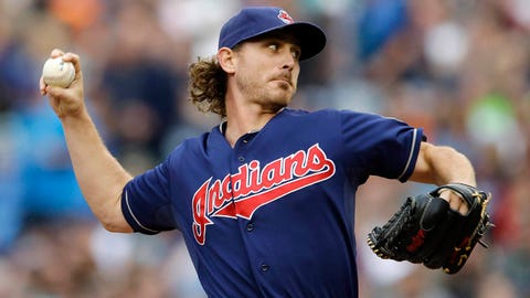 Cleveland Indians starting pitcher Josh Tomlin throws in the first inning of a baseball game against the Seattle Mariners, Saturday, June 28, 2014, in Seattle. (AP Photo/Ted S. Warren)