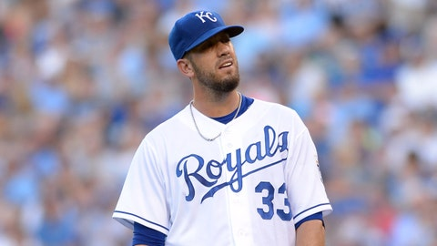 Jun 25, 2014; Kansas City, MO, USA; Kansas City Royals starting pitcher James Shields (33) reacts after Los Angeles Dodgers second baseman Dee Gordon (not pictured) hits a triple in the third inning at Kauffman Stadium. Mandatory Credit: Denny Medley-USA TODAY Sports